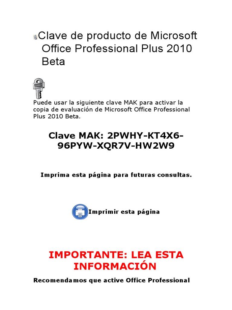 clave de producto office 2010