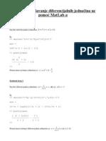 Simboličko rješavanje diferencijalnih jednačina uz pomoć MatLab-a