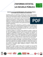 24-10-2013 Manifiesto de La Plataforma Estatal Por La Escuela Publica
