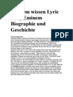 Eminem Wissen Lyric Song Eminem Biographie Und Geschichte