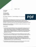 October 1 2012 - Letter - Disclosure Request