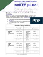 Atualizações no Código da Estrada em Portugal