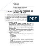 Proyecto de Matricula 2013