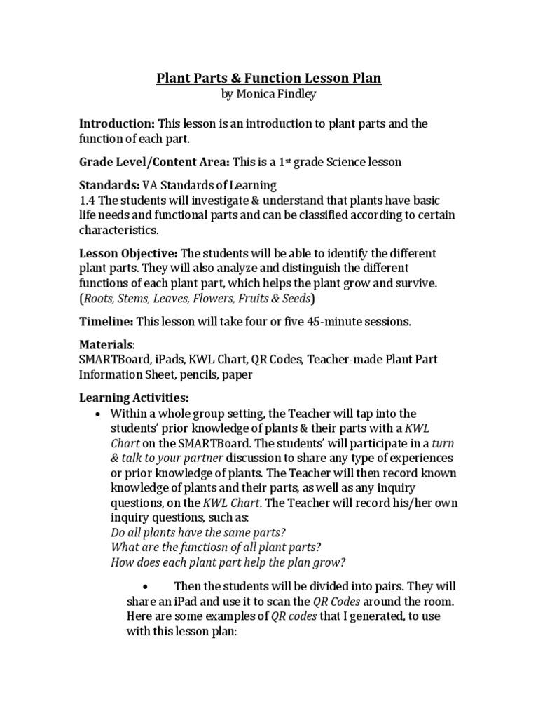 plant parts function lesson plan lesson plan plants