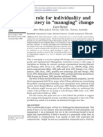 A Role for Individuality and Mystery in ``Managing__ Change