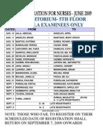 PRC Registration for June 2009 Nurses in MANILA