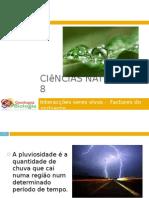 Powerpoint nr. 2 - Interacções seres vivos -Factores do Ambiente - Pluviosidade