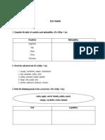Test Paper 6th Grade Vocabulary and Grammar