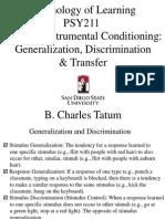 PSY211 Generalization Discrimination Transfer