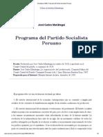Mariategui (1928)_ Programa Del Partido Socialista Peruano