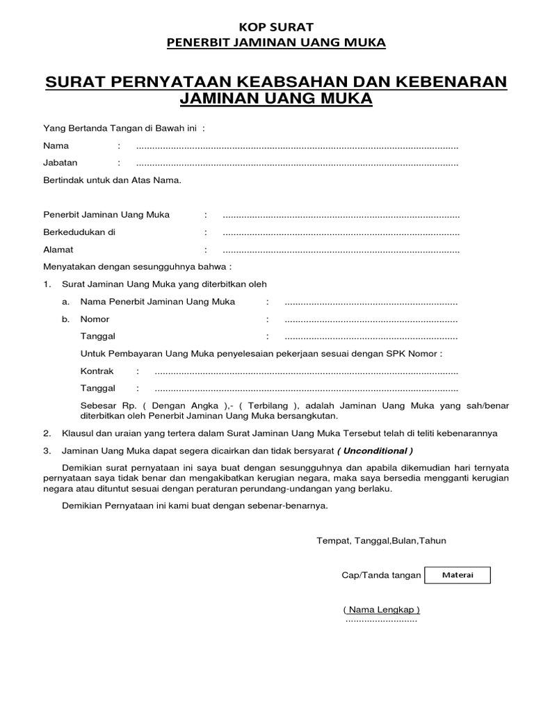 Surat Pernyataan Keabsahan Dan Kebenaran Jaminan Uang Muka