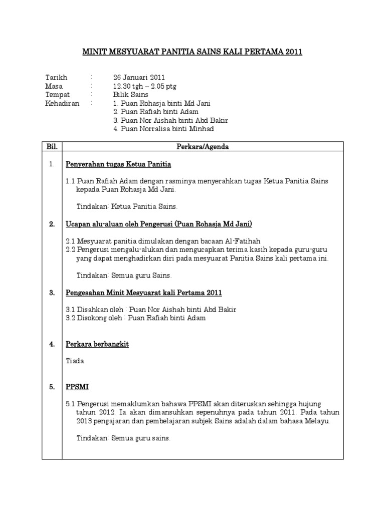 Minit Mesyuarat Panitia Sains Kali Pertama 2011