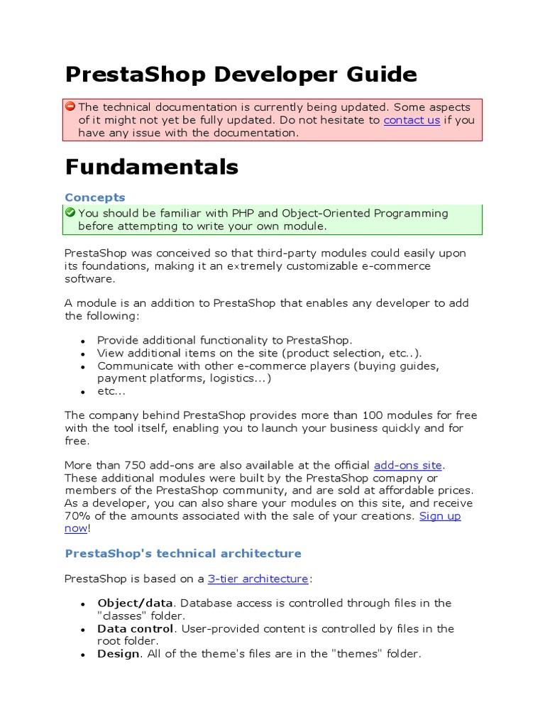 prestashop developer guide pdf php letter case rh pt scribd com oracle application developer's guide - fundamentals oracle database application developer's guide fundamentals 11g release 2