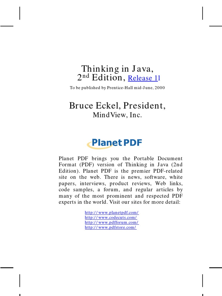 Thinking in Java, 2 Edition, Bruce Eckel, President,: Release 11