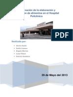Informe del área de cocina Hospital Policlínico