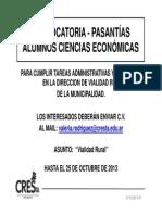 2013-10 CONVOCATORIA Alumnos CsEc - Vialidad Rural