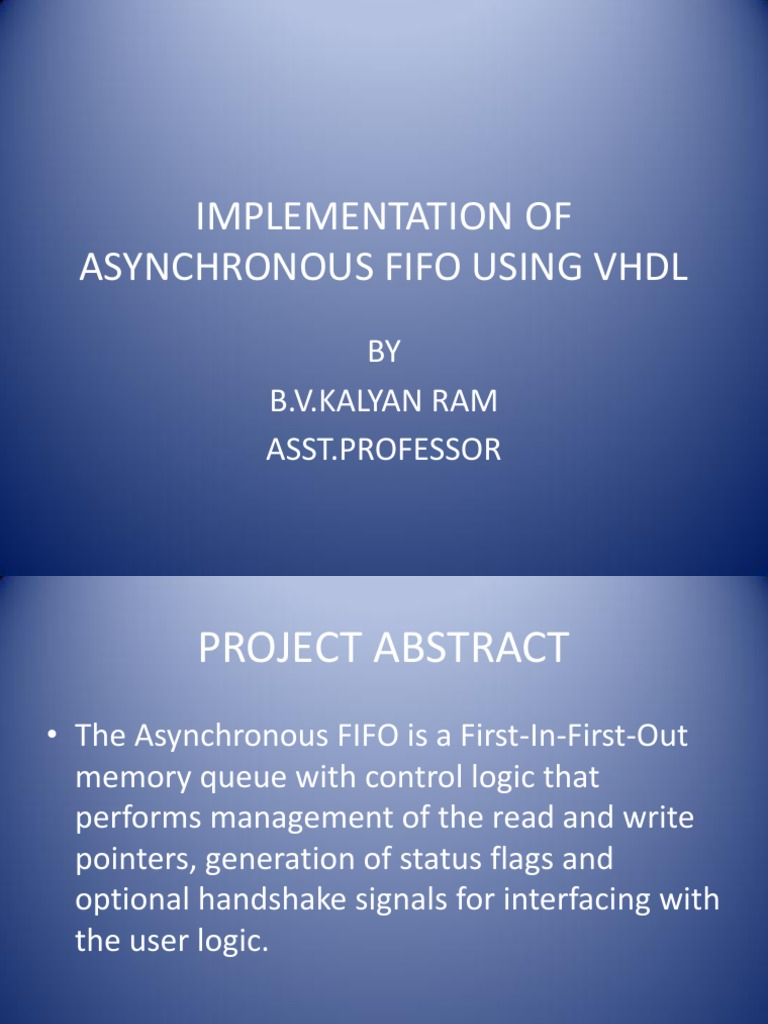 Implementation of asynchronous fifo using VHDL | Hardware