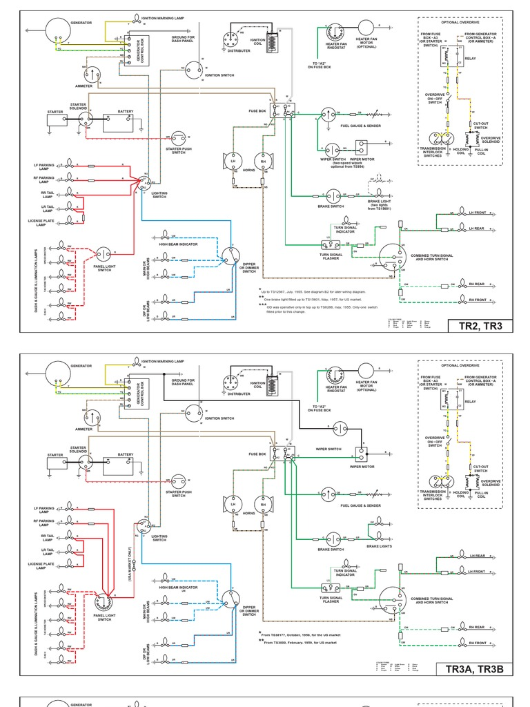 wiring diagrams for tr2 tr3 tr4 and tr4a rh scribd com Triumph TR3A Wiring Diagram PDF triumph tr3 overdrive wiring diagram