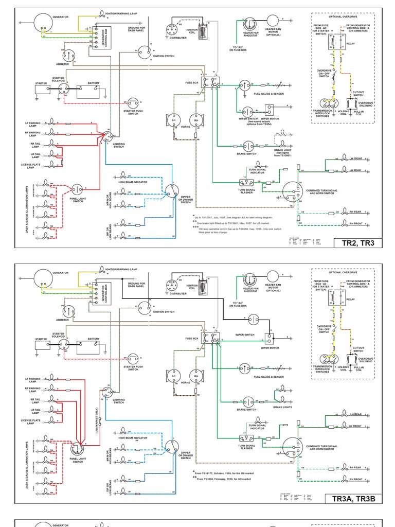 Tr4 Wiring Ammeter Diagram 2000 Honda Civic Dx Radio Diagrams To A Alpine Cde 7853 For Tr2 Tr3 And Tr4a Rh Es Scribd Com 8n Sunpro Tach