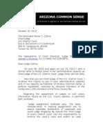 "LETTER TO U.S. DISTRICT COURT (ARIZONA) JUDGE RANER COLLINS REGARDING COURT  DIRECTED ""JUDGE SHOPPING"""