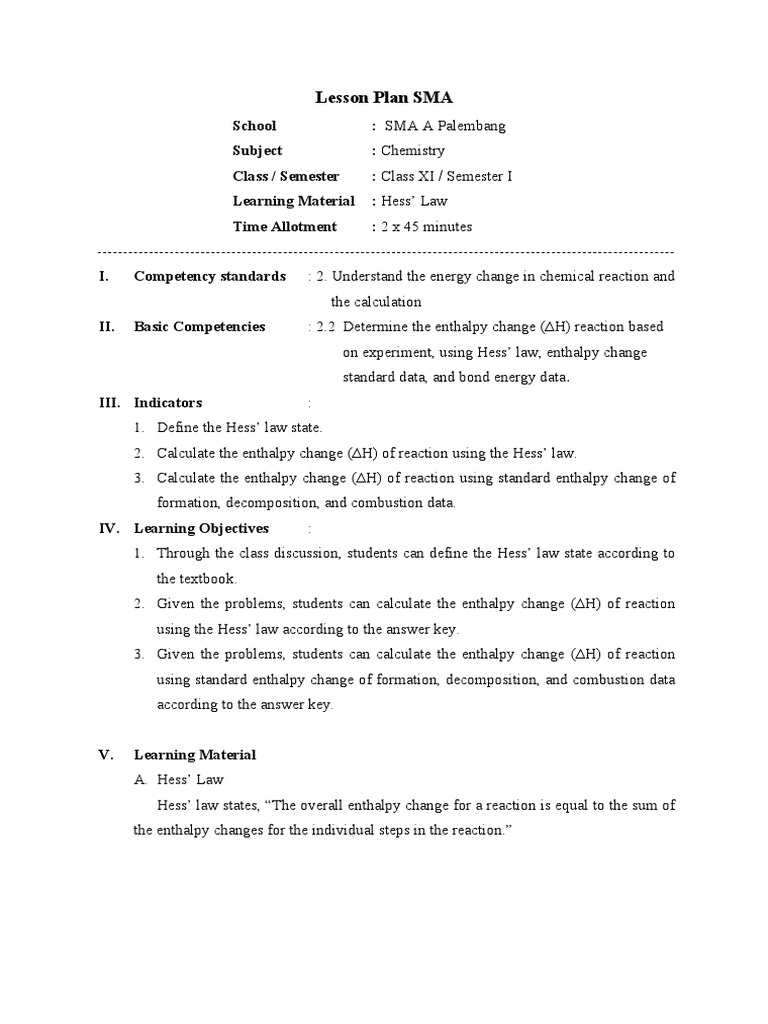 Lesson Plan Hess Law 90 From Mrtono Enthalpy – Hess Law Worksheet