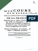Edmund Burke, Discours sur la situation actuelle de La France