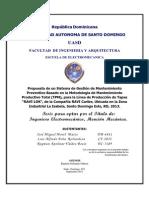 Propuesta de un Sistema de Gestión de Mantenimiento Preventivo Basado en la Metodología TPM
