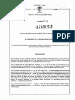 Decreto 700 Del 12 de Abril de 2013