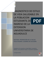 DIAGNÓSTICO DE ESTILO DE VIDA Y SALUD EXTENSIÓN UNIVERSITARIA DE AGUADULCE. UPS.
