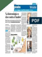 """""""La biotecnología es clave contra el hambre"""""""