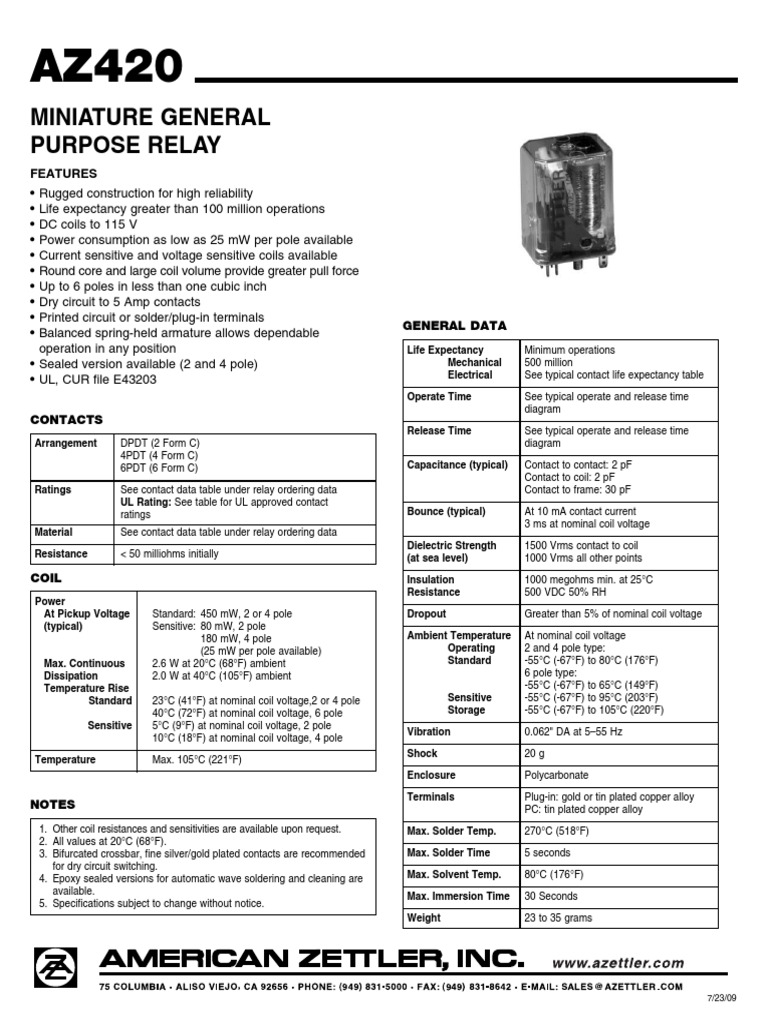 Miniature General Purpose Relay: operation in any position