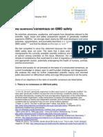 ENSSER Statement No Scientific Consensus on GMO Safety ENG LV