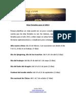 Dc3adas Feriados Para El 2013
