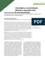 Acomodação fenotípica e acomodação genética - evidências e questões não resolvidas em macroevolução - Monique Nouailhetas Simon