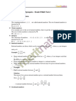 Maths 9 Term 1 synopsis