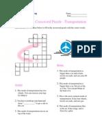 Intermediate Crossword Puzzle Modes of Transportation