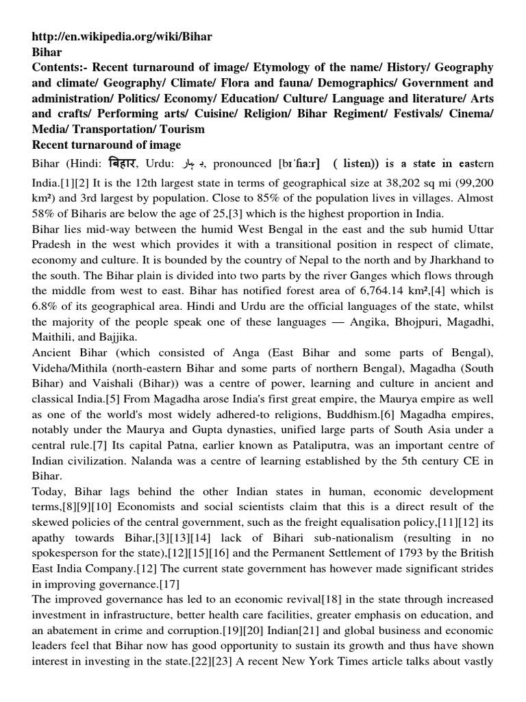 Bihar Information | Languages | Politics (General)