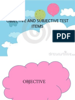 Objective and Subjective Test Items