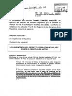 Proyecto modificar ley de derecho de autor
