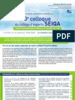 Invitation Et Programme Du 3eme Colloque Du College SEIQA - 17 Janvier 2014 à La FFB