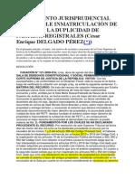 TRATAMIENTO JURISPRUDENCIAL DE LA DOBLE INMATRICULACIÓN DE PREDIOS Y LA DUPLICIDAD DE PARTIDAS REGISTRALES