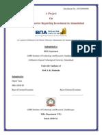 Consumer Behavior Regarding Investment in Ahmedabad
