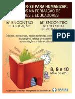 16º de Educação e Literatura Infanto - Juvenil