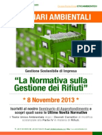 Dr.ssa Paola Fiore ETICAMBIENTE® Seminario Ambientale - La Normativa sulla Gestione dei Rifiuti 8 Novembre 2013