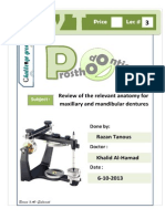 Prostho IV - Lec 3 - Review of the Relevant Anatomy for Maxillary and Mandibular Dentures