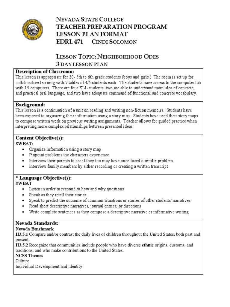 SIOP Lesson Plan  Neighborhood Odes | Lesson Plan | Reading (Process)