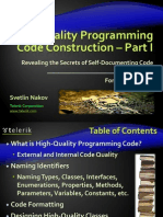 21. High Quality Programming Code Construction Part I