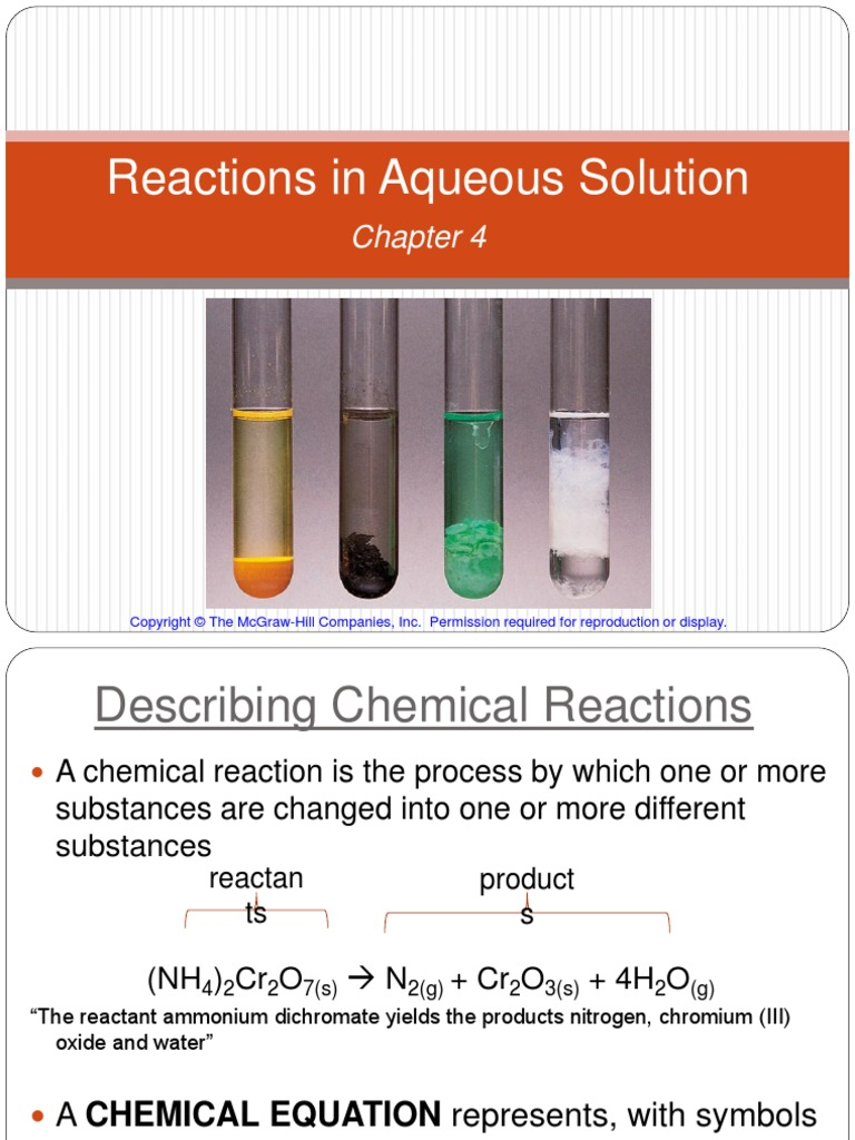 Reactions in Aqueous Solution Student Version   Acid   Redox
