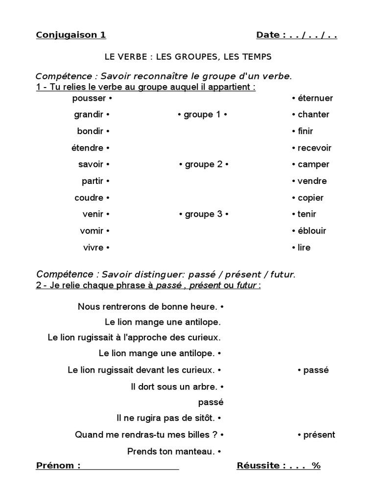 1 Le Verbe Les Temps Les Groupes