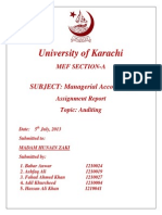 Auditing  Report (MANAGERIAL ACCOUNTING)